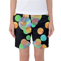 Orange Circles Women s Basketball Shorts by Valentinaart