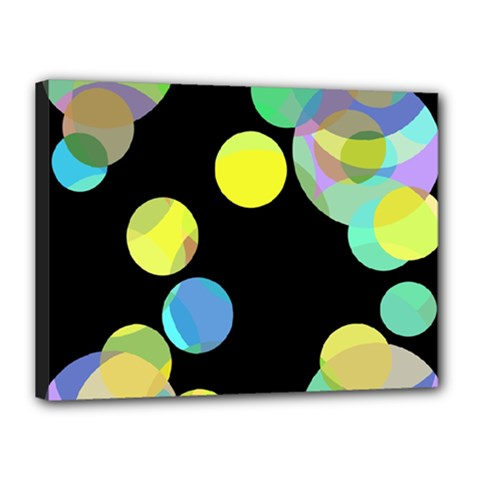 Yellow Circles Canvas 16  X 12  by Valentinaart