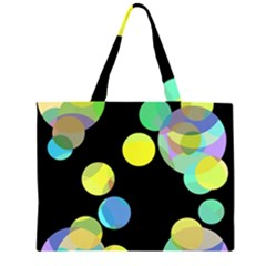 Yellow Circles Zipper Large Tote Bag by Valentinaart