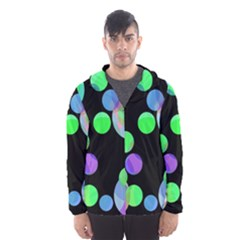 Green Decorative Circles Hooded Wind Breaker (men) by Valentinaart
