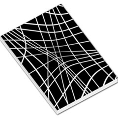 Black And White Elegant Lines Large Memo Pads by Valentinaart