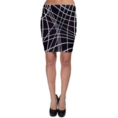 Black And White Elegant Lines Bodycon Skirt by Valentinaart