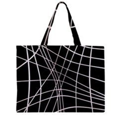 Black And White Elegant Lines Zipper Mini Tote Bag by Valentinaart