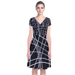 Black And White Elegant Lines Short Sleeve Front Wrap Dress by Valentinaart