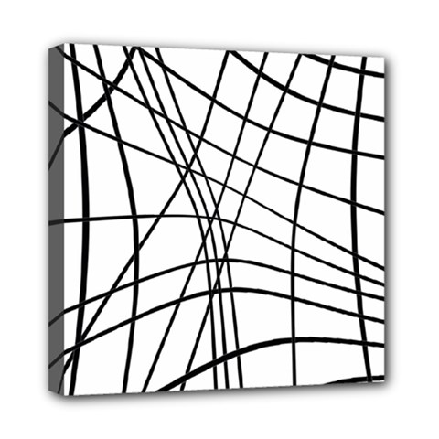 Black And White Decorative Lines Mini Canvas 8  X 8  by Valentinaart