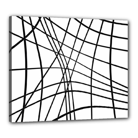 Black And White Decorative Lines Canvas 24  X 20  by Valentinaart