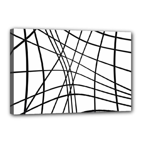 Black And White Decorative Lines Canvas 18  X 12  by Valentinaart