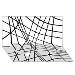 Black And White Decorative Lines Twin Heart Bottom 3d Greeting Card (8x4)  by Valentinaart