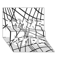 Black And White Decorative Lines Take Care 3d Greeting Card (7x5)  by Valentinaart
