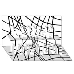 Black And White Decorative Lines Laugh Live Love 3d Greeting Card (8x4)