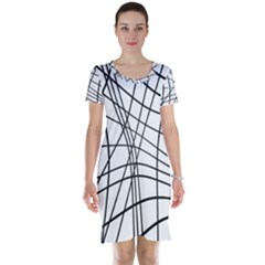 Black And White Decorative Lines Short Sleeve Nightdress by Valentinaart