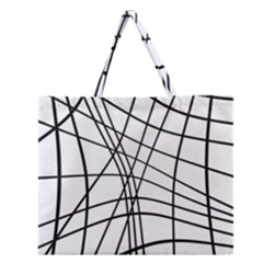 Black And White Decorative Lines Zipper Large Tote Bag by Valentinaart