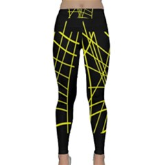 Yellow Abstraction Yoga Leggings by Valentinaart