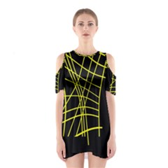 Yellow Abstraction Cutout Shoulder Dress