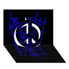 Neon Blue Abstraction Peace Sign 3d Greeting Card (7x5)