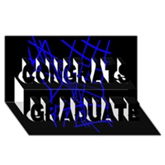 Neon Blue Abstraction Congrats Graduate 3d Greeting Card (8x4)