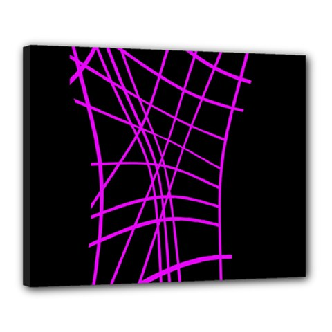 Neon Purple Abstraction Canvas 20  X 16  by Valentinaart