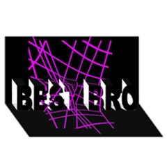 Neon Purple Abstraction Best Bro 3d Greeting Card (8x4)  by Valentinaart