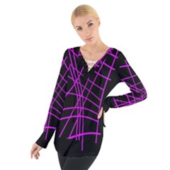 Neon Purple Abstraction Women s Tie Up Tee