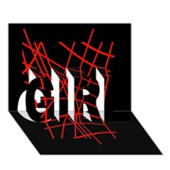Neon Red Abstraction Girl 3d Greeting Card (7x5)