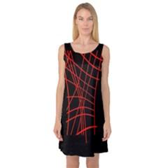 Neon Red Abstraction Sleeveless Satin Nightdress by Valentinaart