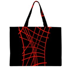 Neon Red Abstraction Zipper Large Tote Bag by Valentinaart