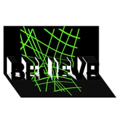 Green Neon Abstraction Believe 3d Greeting Card (8x4)