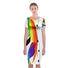 Cheongsam Rainbow Feather Bower Classic Short Sleeve Midi Dress by PKHarrisPlace