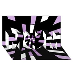Purple Abstraction Mom 3d Greeting Card (8x4)