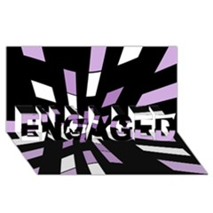 Purple Abstraction Engaged 3d Greeting Card (8x4)