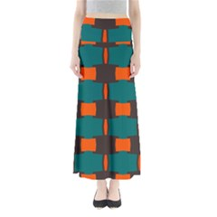 3 Colors Shapes Pattern                                    Women s Maxi Skirt by LalyLauraFLM