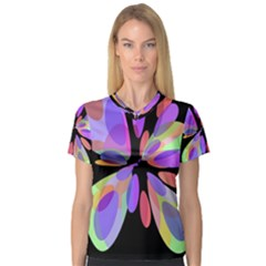 Colorful Abstract Flower Women s V Neck Sport Mesh Tee by Valentinaart