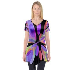 Colorful Abstract Flower Short Sleeve Tunic  by Valentinaart