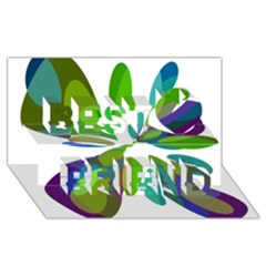 Green Abstract Flower Best Friends 3d Greeting Card (8x4)  by Valentinaart