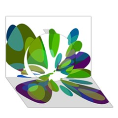 Green Abstract Flower Circle 3d Greeting Card (7x5)