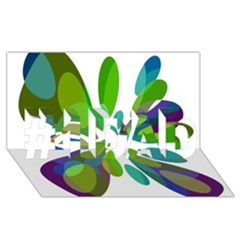 Green Abstract Flower #1 Dad 3d Greeting Card (8x4)