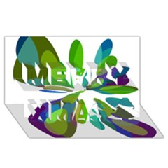 Green Abstract Flower Merry Xmas 3d Greeting Card (8x4)