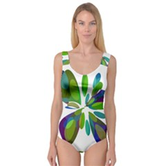 Green Abstract Flower Princess Tank Leotard  by Valentinaart