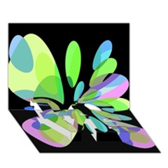 Green Abstract Flower Love Bottom 3d Greeting Card (7x5)