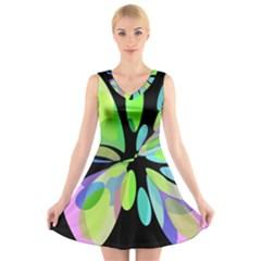 Green Abstract Flower V Neck Sleeveless Skater Dress