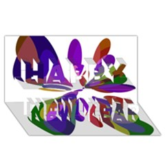 Colorful Abstract Flower Happy New Year 3d Greeting Card (8x4)