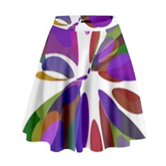 Colorful abstract flower High Waist Skirt by Valentinaart