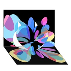 Blue Abstract Flower Heart 3d Greeting Card (7x5)