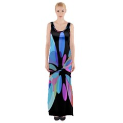 Blue Abstract Flower Maxi Thigh Split Dress by Valentinaart