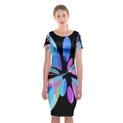 Blue Abstract Flower Classic Short Sleeve Midi Dress by Valentinaart
