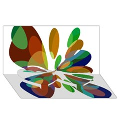 Colorful Abstract Flower Twin Heart Bottom 3d Greeting Card (8x4)