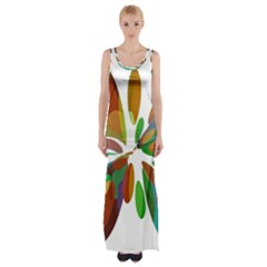 Colorful Abstract Flower Maxi Thigh Split Dress by Valentinaart