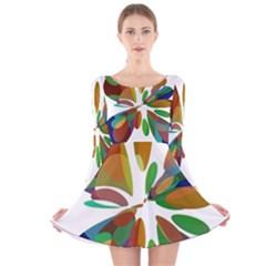 Colorful Abstract Flower Long Sleeve Velvet Skater Dress by Valentinaart