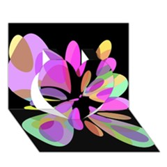 Pink Abstract Flower Heart 3d Greeting Card (7x5)