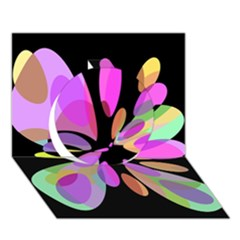 Pink Abstract Flower Circle 3d Greeting Card (7x5)  by Valentinaart